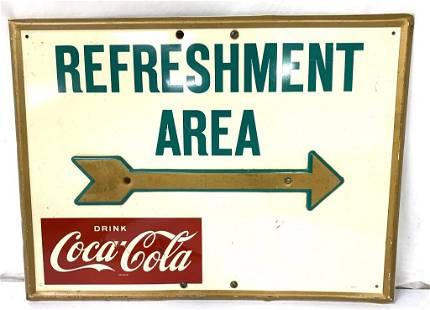 Metal Coca Cola Refreshment Area Sign