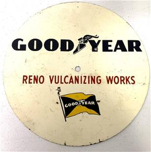 Tin Goodyear Reno Vulcanizing Works Sign