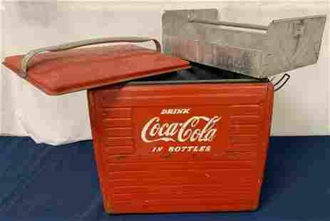 Coca Cola galvanized cooler w/ tray insert