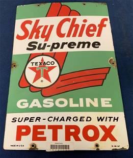 Sky Chief Texaco Gasoline porcelain sign