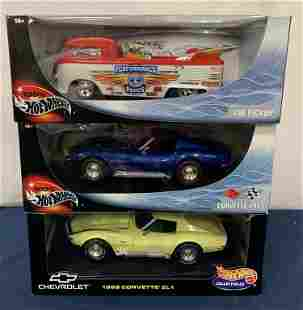 (3) Hot Wheels 1/18 scale cars in individual boxes