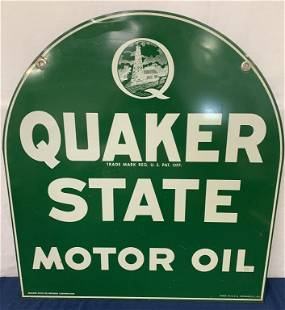Two sided Quaker State Motor Oil Metal sign
