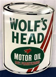 Two Sided Wolf's Head Motor Oil Metal Sign