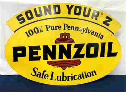 Two Sided Pennzoil Metal sign