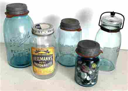 Lot of 5 Jars - 1 Jar is full of Buttons