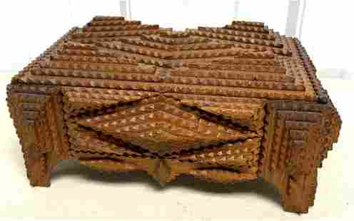 Tramp Art Felt Lined Box