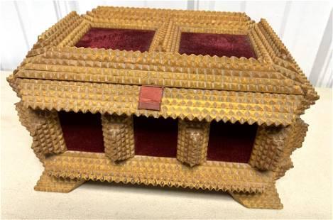 Tramp Art Box Satin Lined