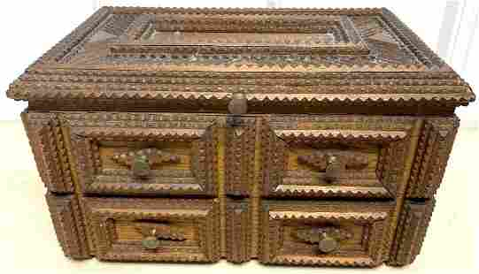 Tramp Art 2 Drawer Velvet Lined Jewelry Box