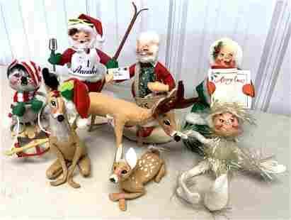 Lot of 8 Annalee Christmas People / Deer