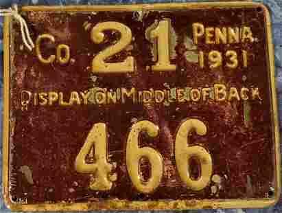 Pennsylvania Resident Hunting License 1931
