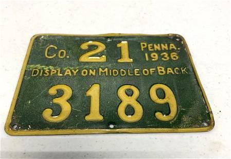 Pennsylvania Resident Hunting License 1936