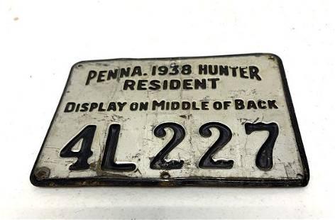 Pennsylvania Resident Hunting License 1938