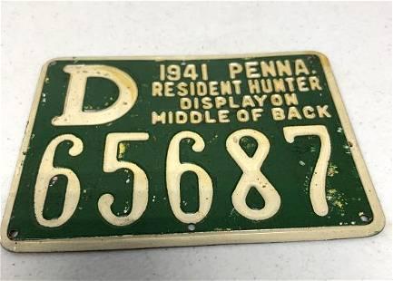 Pennsylvania Resident Hunting License 1941