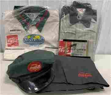 Lot of 4 Coca-Cola Men's Uniform Shirts /Hat