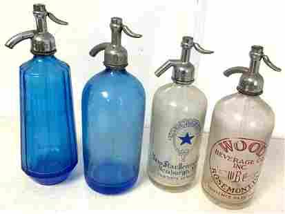 Lot of 4 Seltzer Bottles 2 Clear / 2 Blue