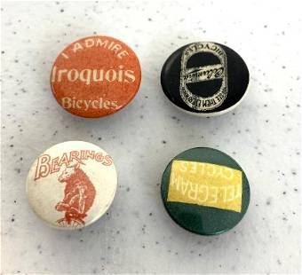 Lot of 4 Collar Buttons All Bicycle Advertising