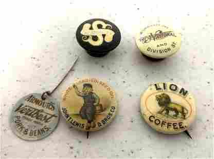 Lot of 5 Pinbacks / Collar buttons