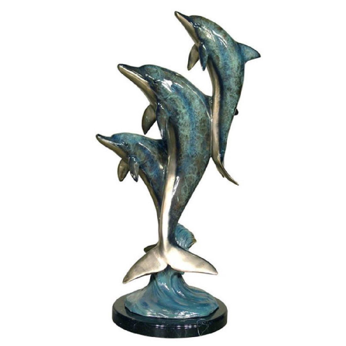 Bronze Polychrome Patina Dolphin Sculpture