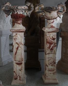 PR- Urn on Pedestal -Multi Color Marble