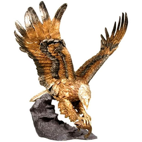 Antiqued Bronze Eagle Catching Fish