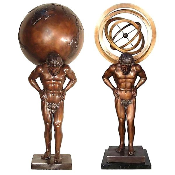 PAIR OF SUNDIAL MEN WITH GLOBES