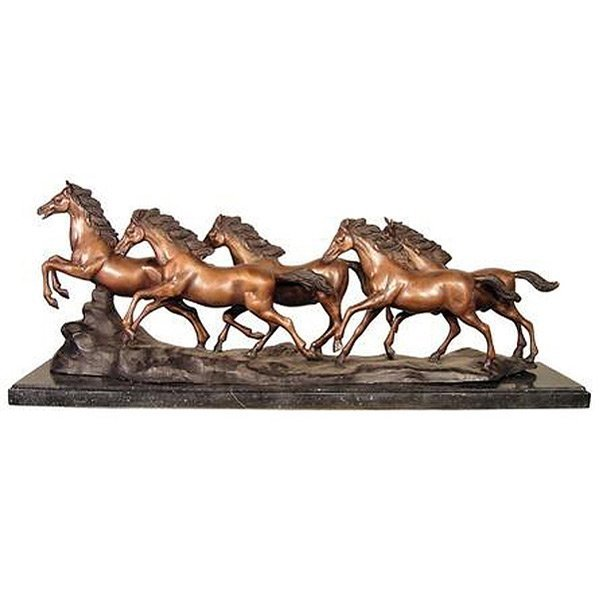 5 Horses Running Mantel Size