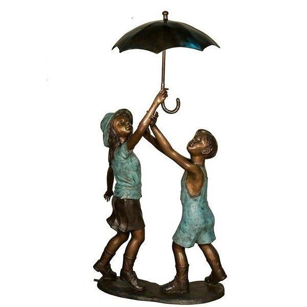Bronze Boy and Girl Umbrella Fountain