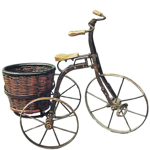 *PO*Iron Tricycle with Round Basket