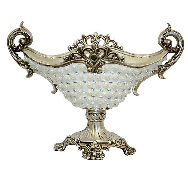 Silver Pearl & Crystal Vase