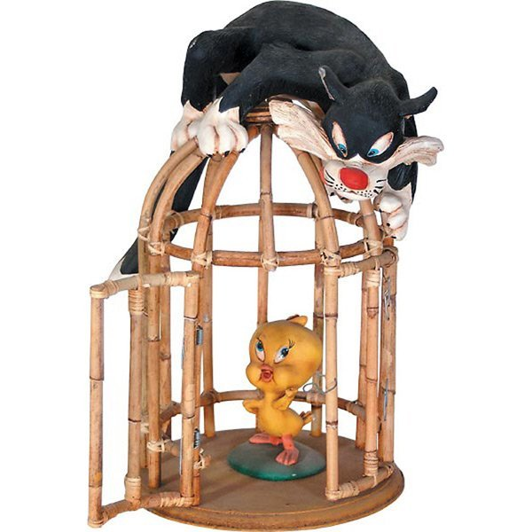 Cat and Bird In Cage