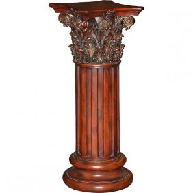 Wood Tone Corinthian Pedestal