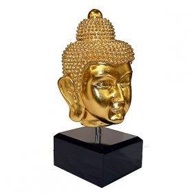 Lg Buddha Head On Stand - Gld