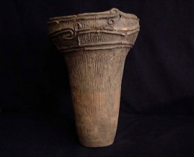 "JAPAN JOMON NEOLITHIC POTTERY VESSEL ARTIFACT 17"" TALL"