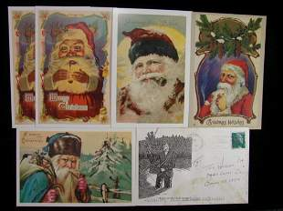 Five Christmas Cards with Santa Claus smoking pipe from