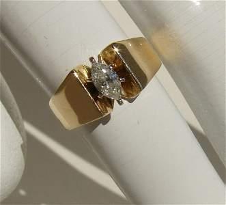 Ladies 14K .42 Carat Marquee Cut Diamond Ring VS2 Size
