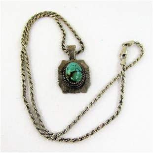 Ladies Sterling Silver Rope Chain with Large Turquoise