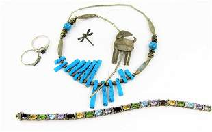 Assortment Sterling Silver, Turquoise, Precious and