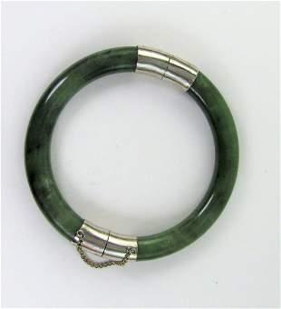 Ladies Vintage Jade Bangle Bracelet Sterling Silver