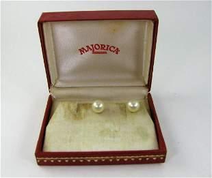 Ladies Vintage Majorica Pearl Earrings 1/20 12K Gold
