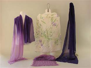 Lot of 4 Early Purple Scarves