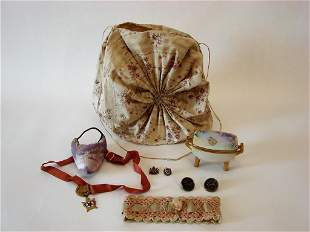 Antique Boudoir Lot Lingerie Bag, Shoe Accessories