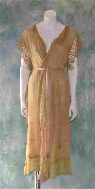 Vintage 1920s Silk Chiffon Lingerie Robe