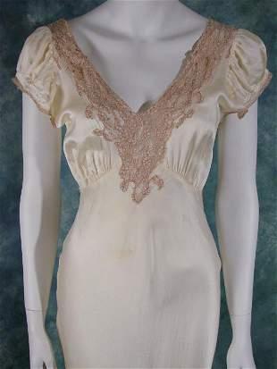 Vintage 1930s Silk Bias Cut Gown or Dress
