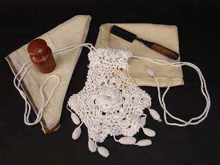 Antique Boudoir Lot Crochet Purse, Collar Box