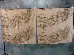 4 Panels Of Vintage Raw Silk Curtains