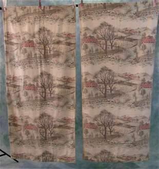 Pair Of Vintage Barkcloth Curtains