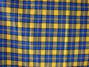 Vintage Blue & Yellow Wool Tartan Fabric