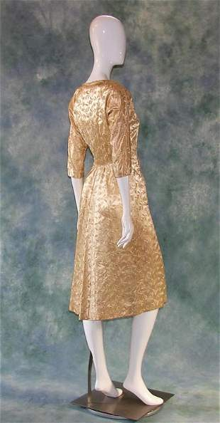1940s Gold Silk Wedding Gown