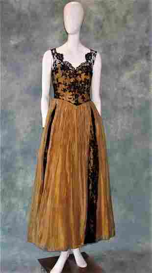 1950s Gold Lame and Lace Gown