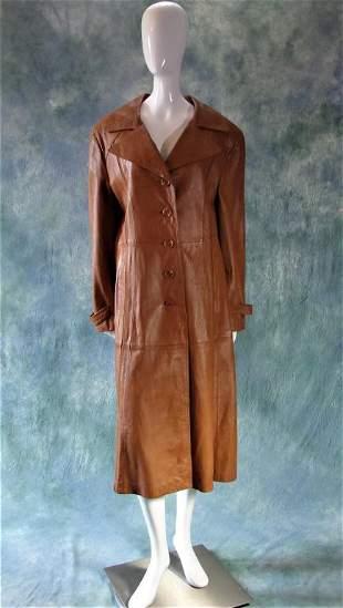Vintage Brown Leather Jacket or Duster